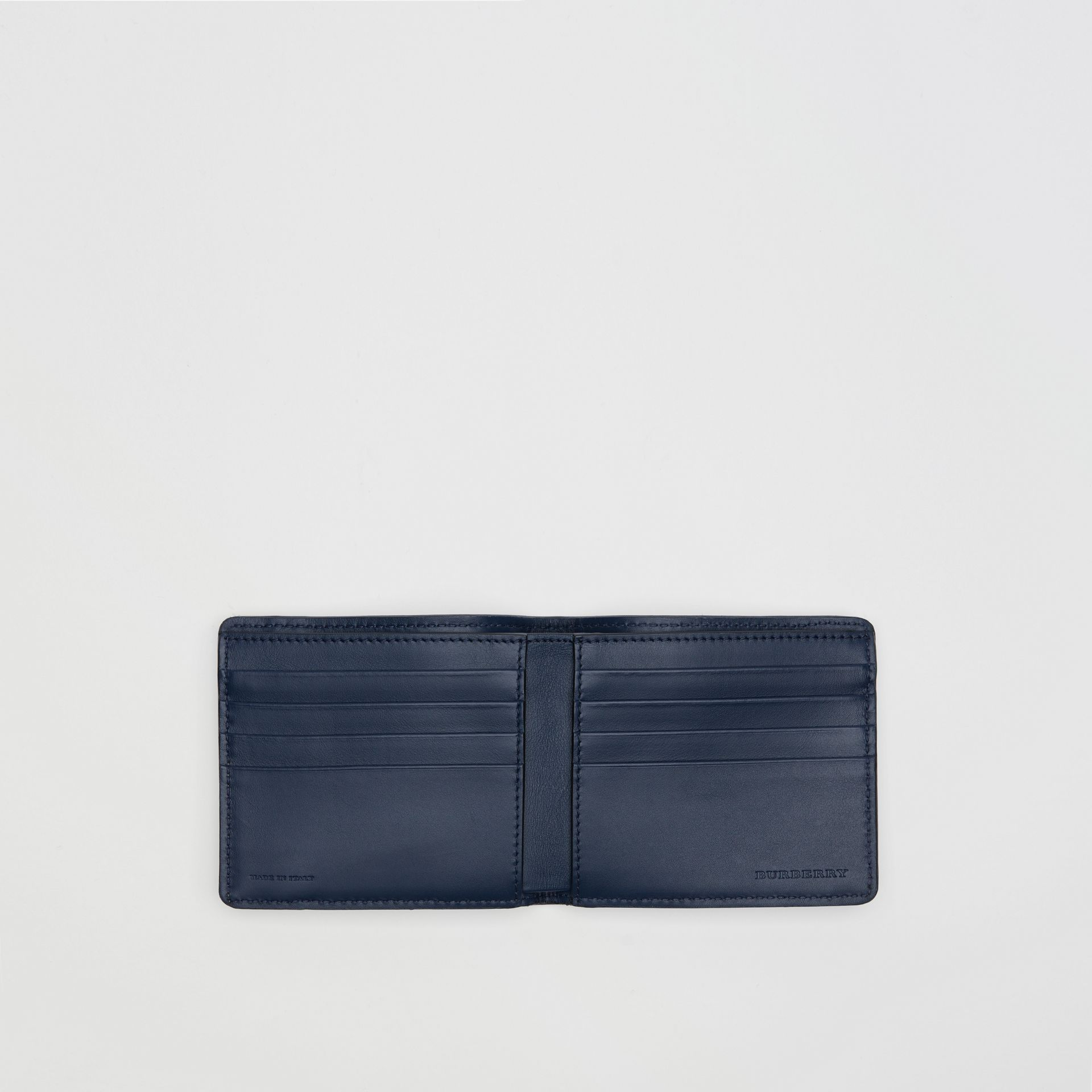 1983 Check and Leather International Bifold Wallet in Ink Blue - Men | Burberry Singapore - gallery image 3