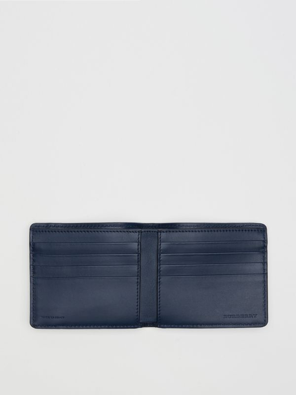 1983 Check and Leather International Bifold Wallet in Ink Blue - Men | Burberry Singapore - cell image 3