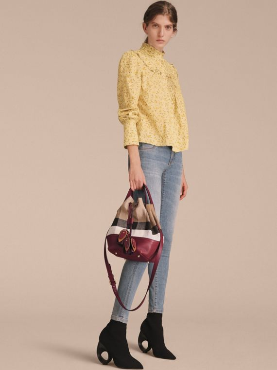 Small Canvas Check and Leather Bucket Bag in Burgundy Red - Women | Burberry Singapore - cell image 2