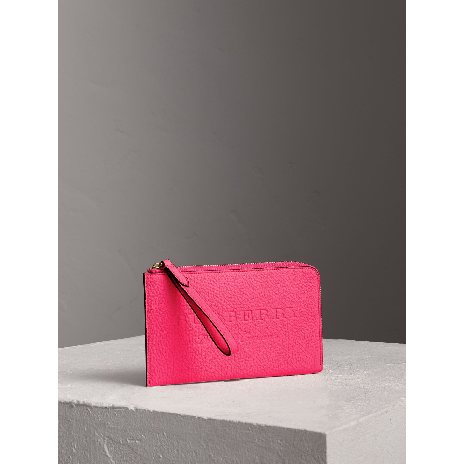 Embossed Neon Leather Travel Wallet in Bright Pink | Burberry - gallery image 3