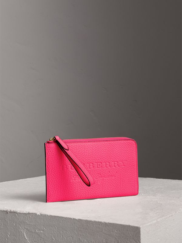 Embossed Neon Leather Travel Wallet in Bright Pink | Burberry - cell image 3