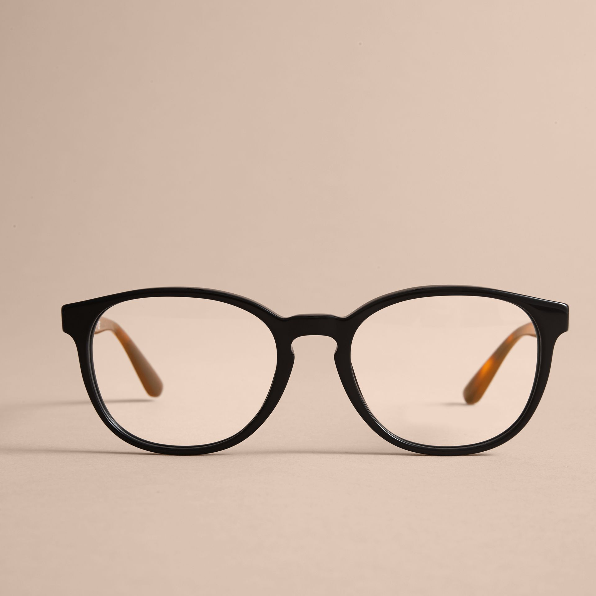 Check Detail Round Optical Frames in Black - gallery image 3