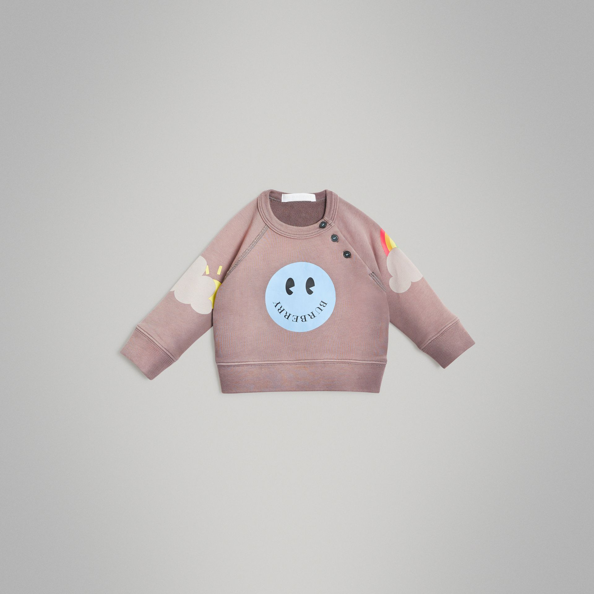 Smiley Face Print Cotton Sweatshirt in Mauve - Children | Burberry United Kingdom - gallery image 0