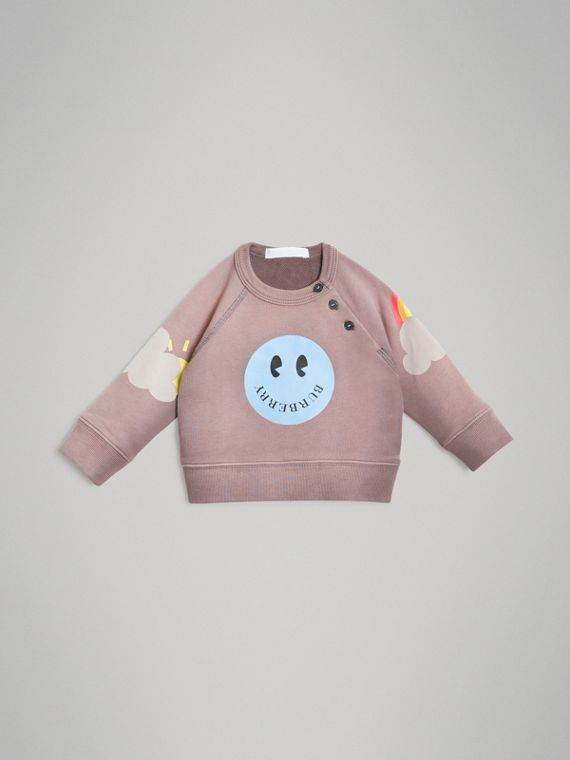 Smiley Face Print Cotton Sweatshirt in Mauve