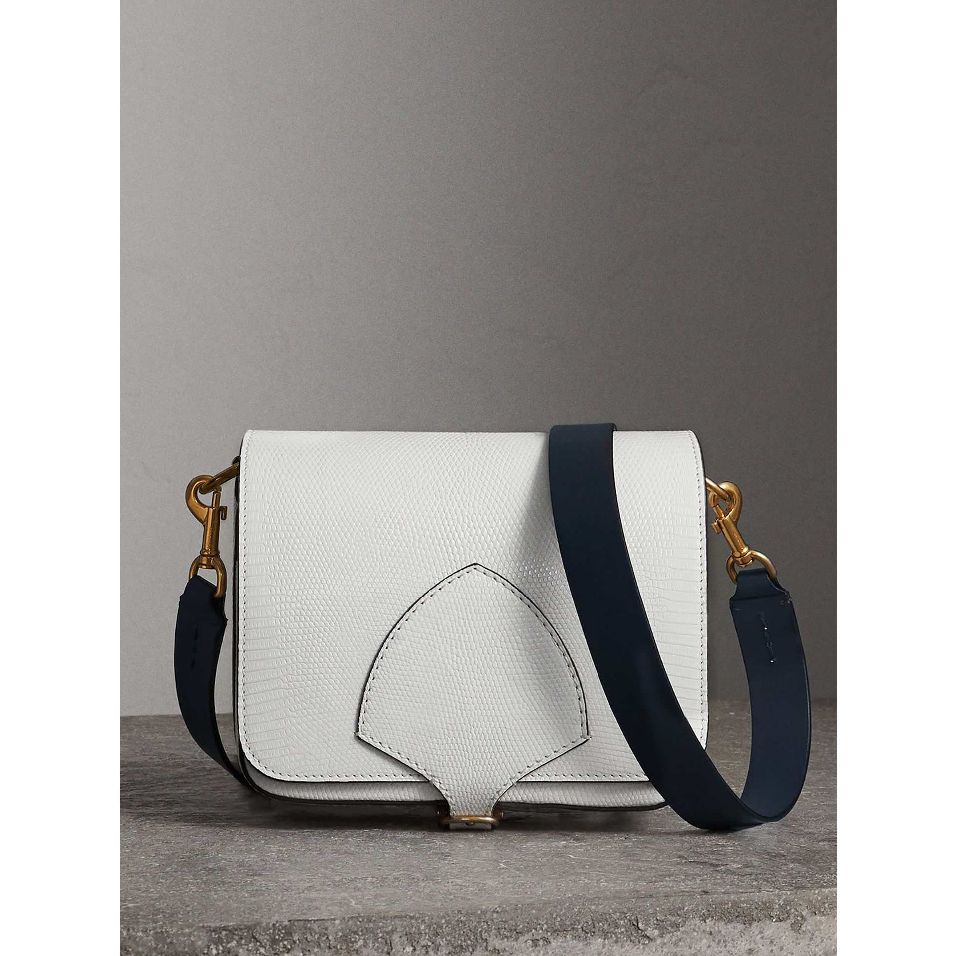 The Square Satchel in Lizard in White - Women | Burberry - gallery image 0