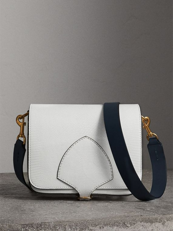The Square Satchel aus Waranleder (Weiss)
