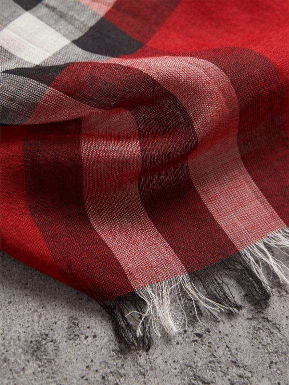 Lightweight Check Wool and Silk Scarf in Bright Military Red | Burberry - cell image 1