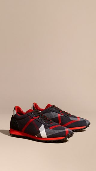 Textural Trim Canvas Check Sneakers