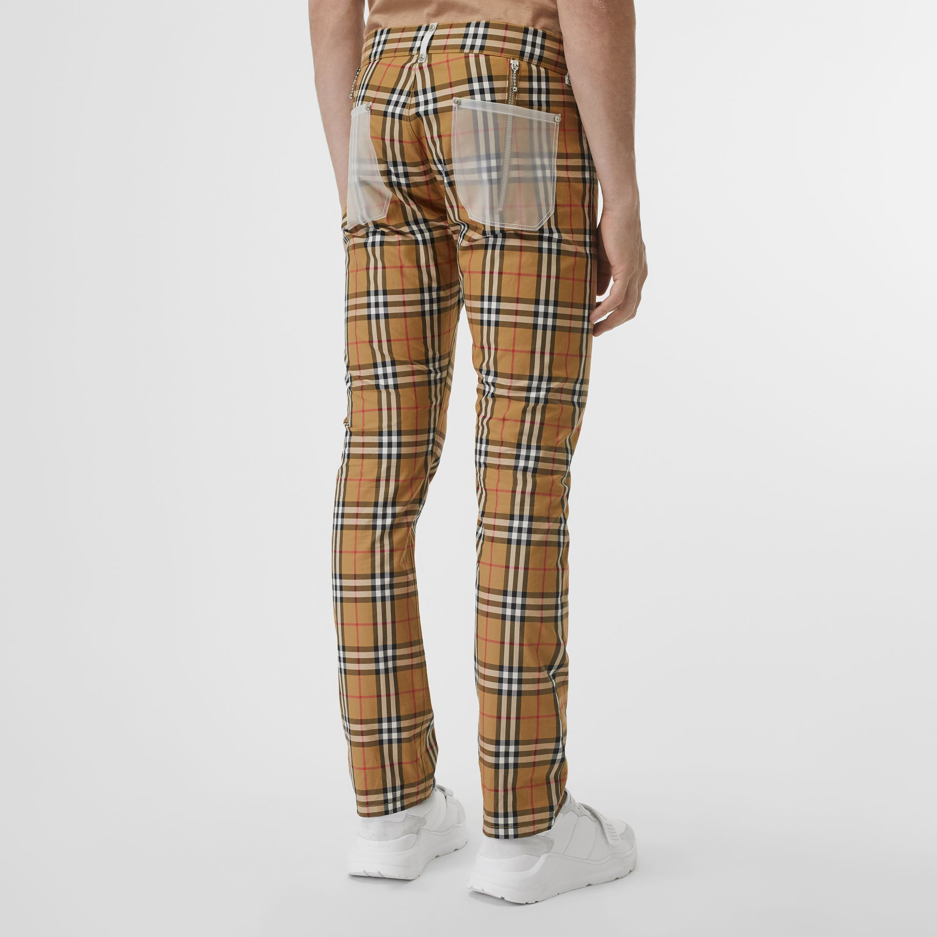 Zip Detail Vintage Check Cotton Trousers in Antique Yellow | Burberry - gallery image 2