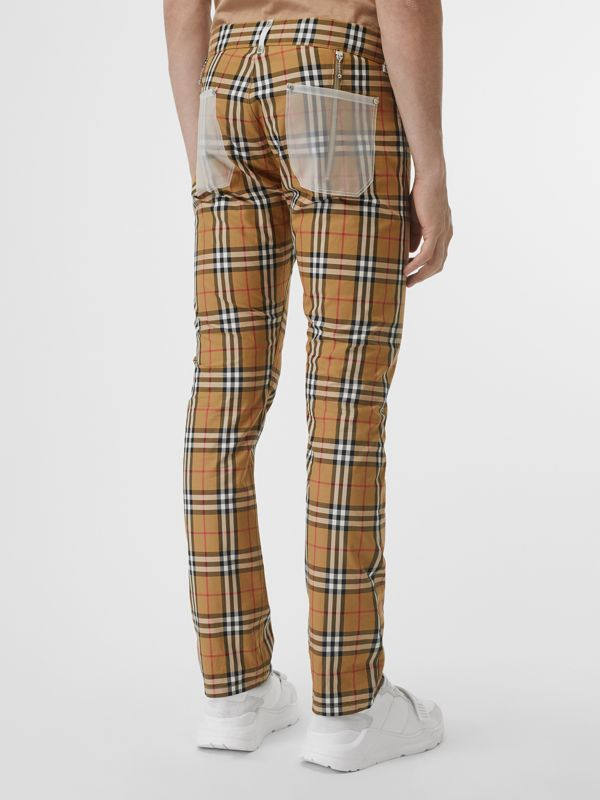 Zip Detail Vintage Check Cotton Trousers in Antique Yellow - Men | Burberry - cell image 2