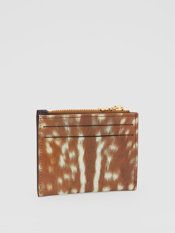 Deer Print Leather Zip Card Case in Malt Brown - Women | Burberry - cell image 3