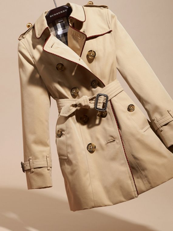 Honey Cotton Gabardine Trench Coat with Regimental Piping - cell image 2