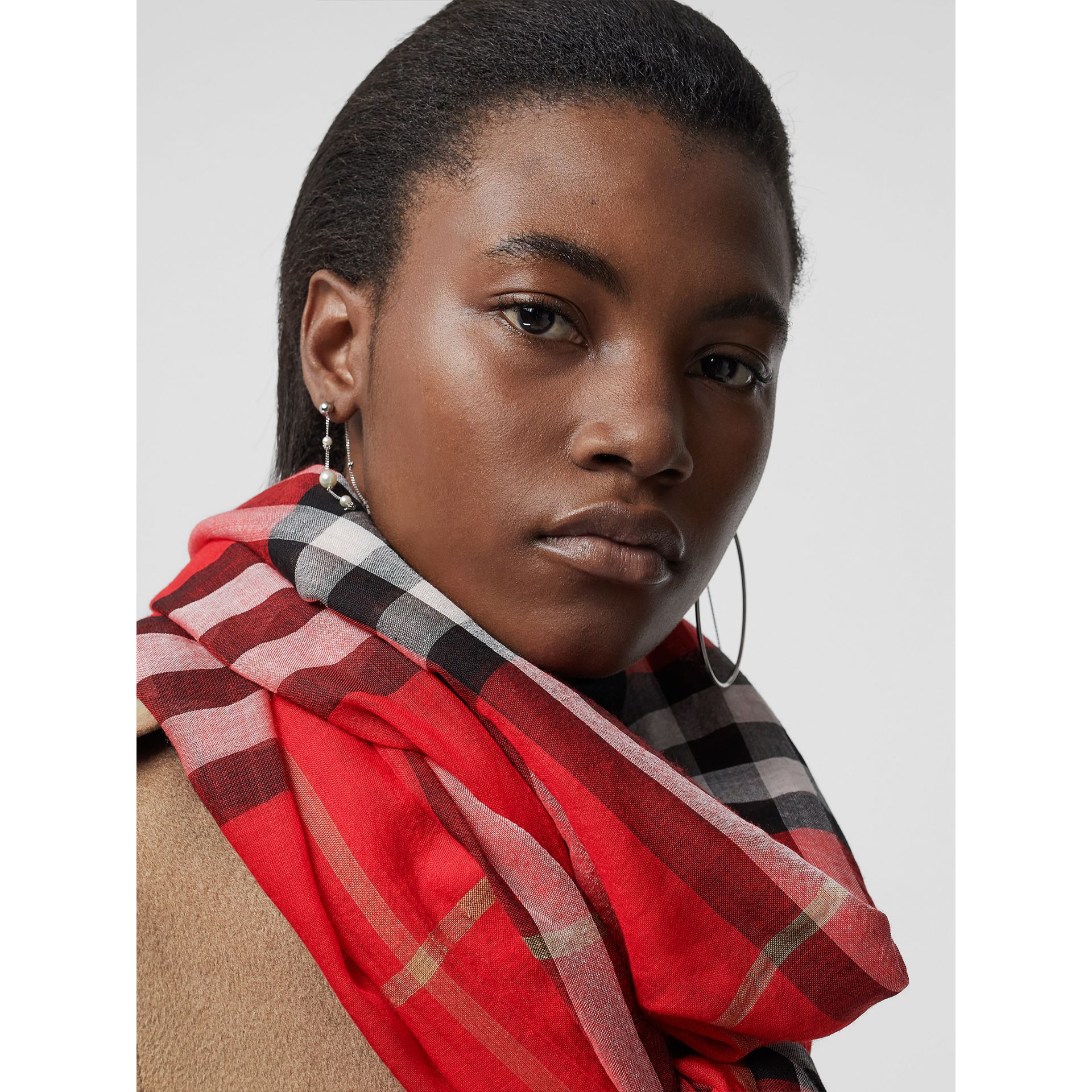 Lightweight Check Wool and Silk Scarf in Bright Military Red | Burberry - gallery image 5