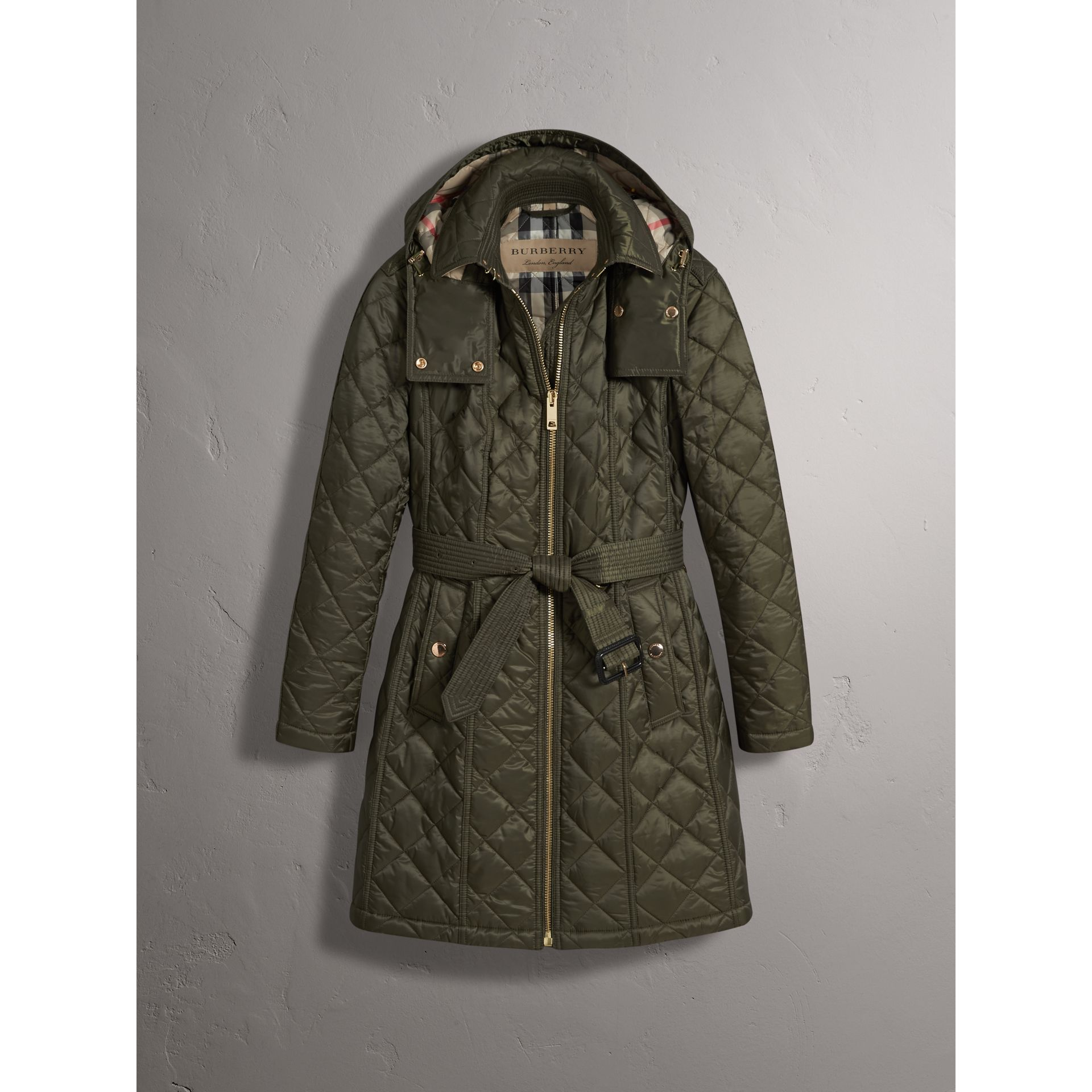 Detachable Hood Quilted Showerproof Parka in Military Khaki - Women | Burberry - gallery image 4