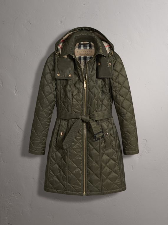 Detachable Hood Quilted Showerproof Parka in Military Khaki - Women | Burberry United Kingdom - cell image 3