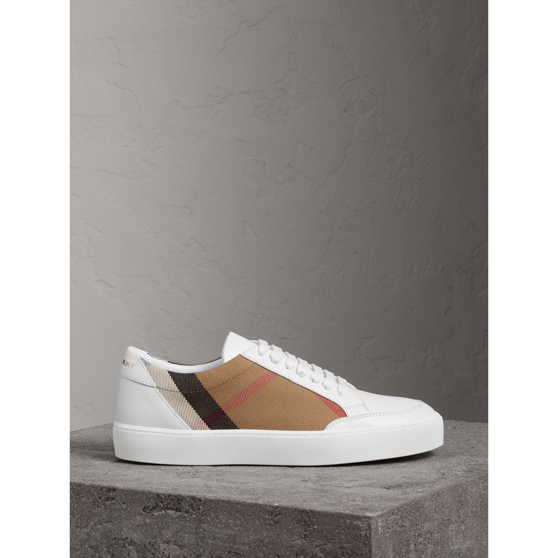 Check Detail Leather Sneakers in House Check/ Optic White - Women | Burberry - gallery image 3