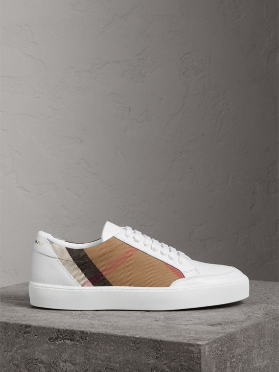 Check Detail Leather Trainers in House Check/ Optic White - Women | Burberry - cell image 3