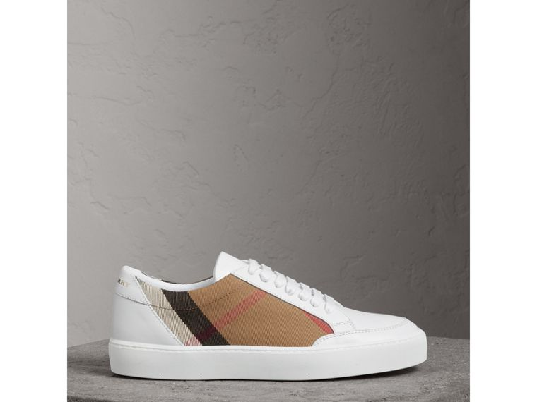 Check Detail Leather Sneakers in House Check/ Optic White - Women | Burberry - cell image 4