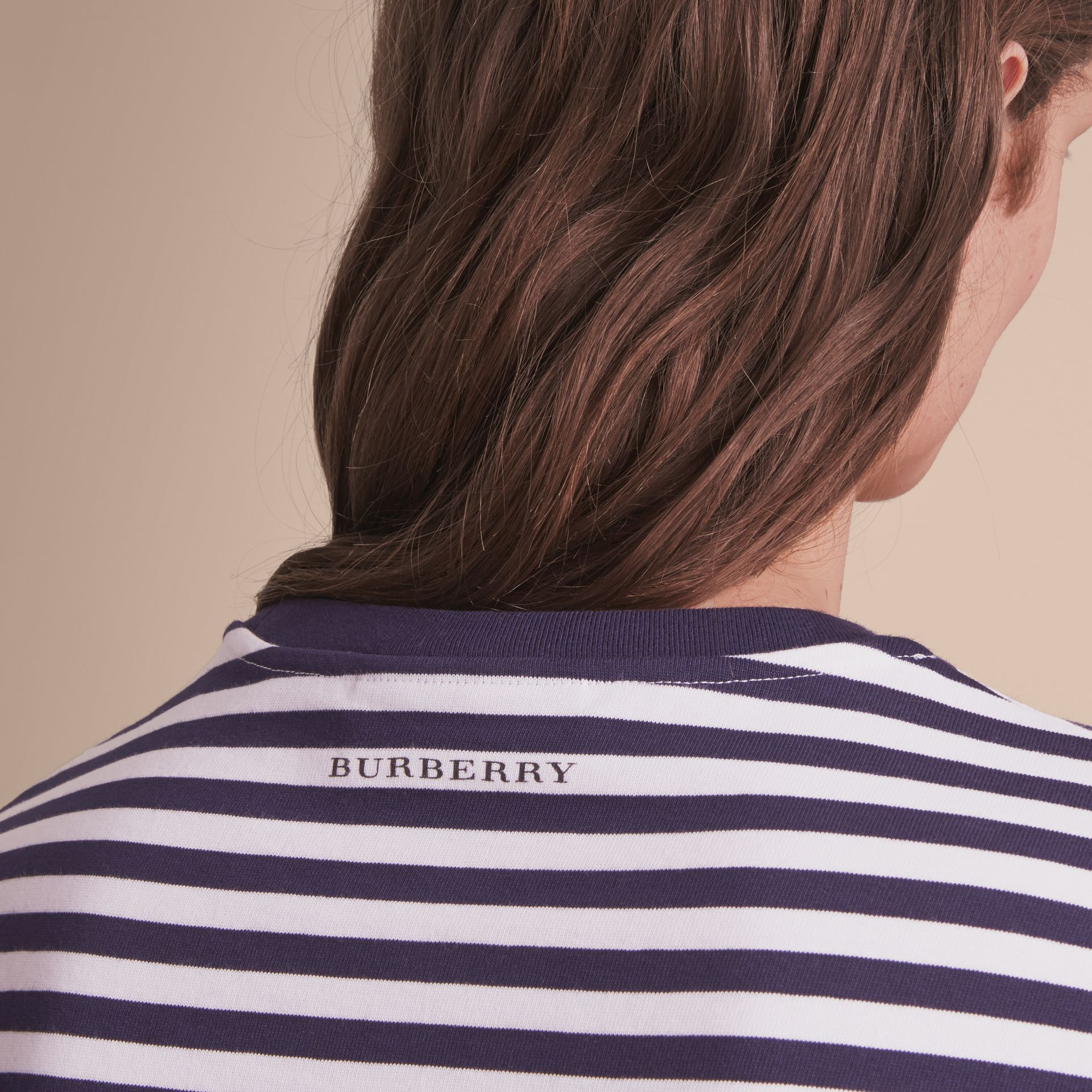 Breton Stripe Cotton T-shirt with Pallas Helmet Motif in Navy/white - Men | Burberry - gallery image 5