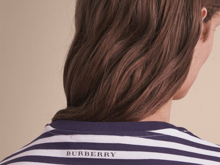 Breton Stripe Cotton T-shirt with Pallas Helmet Motif in Navy/white - Men | Burberry - cell image 4