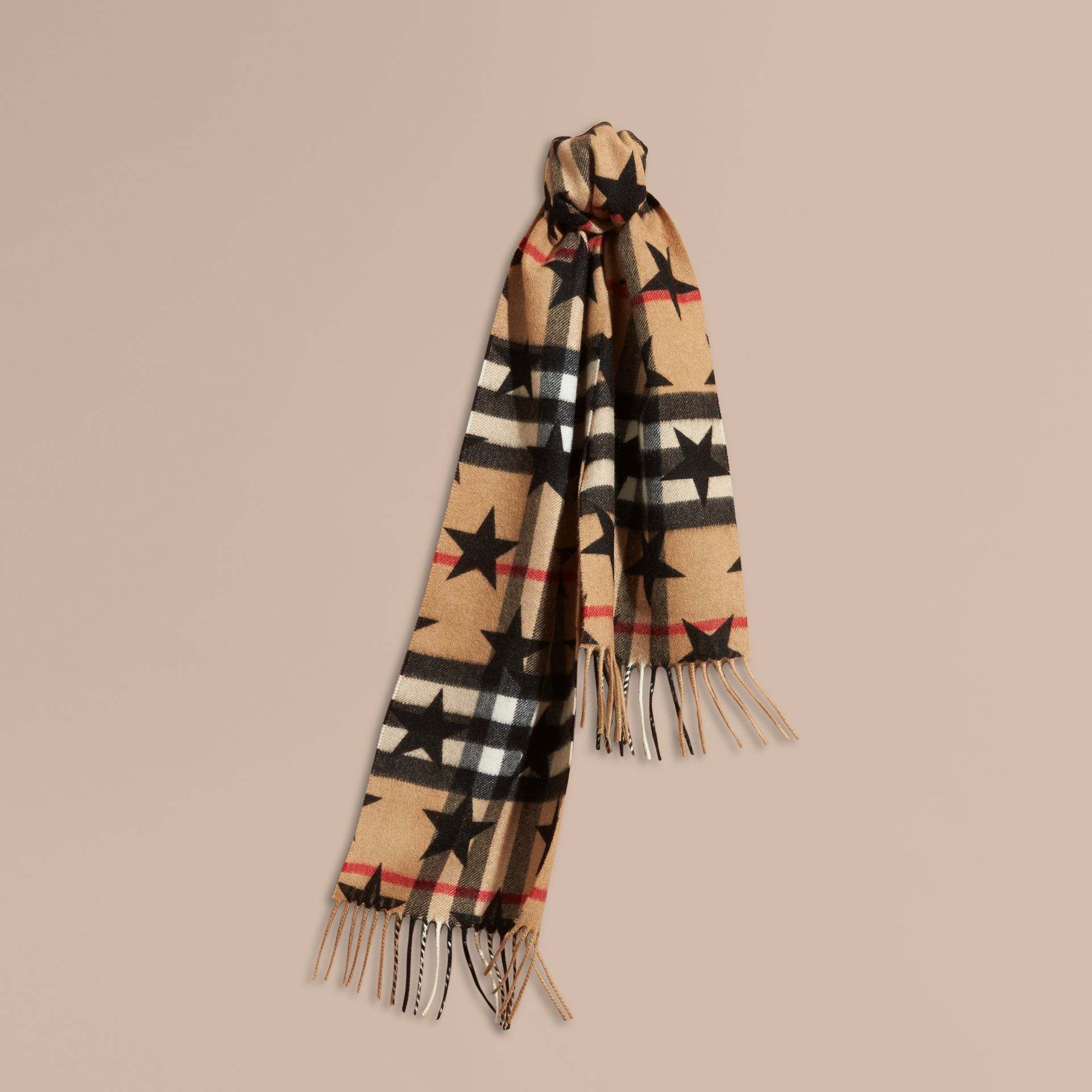 Black The Mini Classic Cashmere Scarf in Check with Star Print Black - gallery image 4