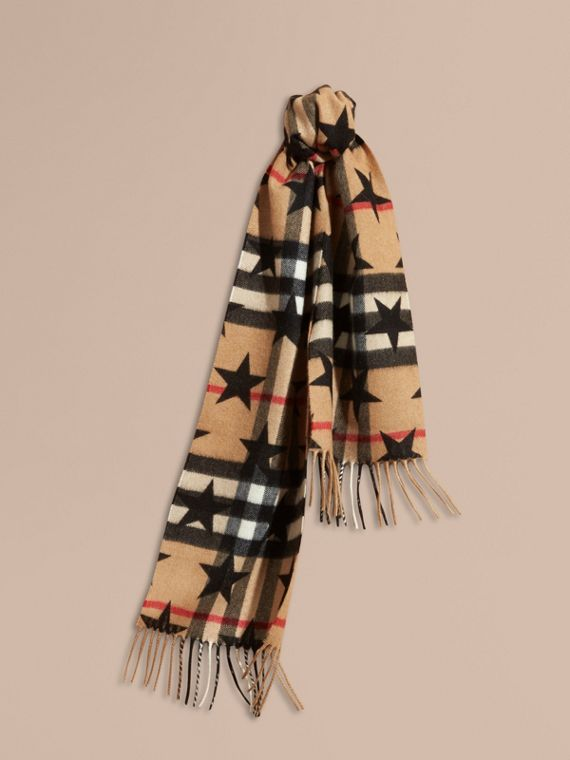 Black The Mini Classic Cashmere Scarf in Check with Star Print Black - cell image 3