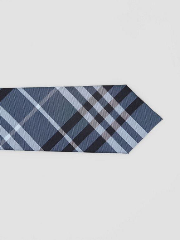 Classic Cut Vintage Check Silk Tie in Steel Blue - Men | Burberry - cell image 1