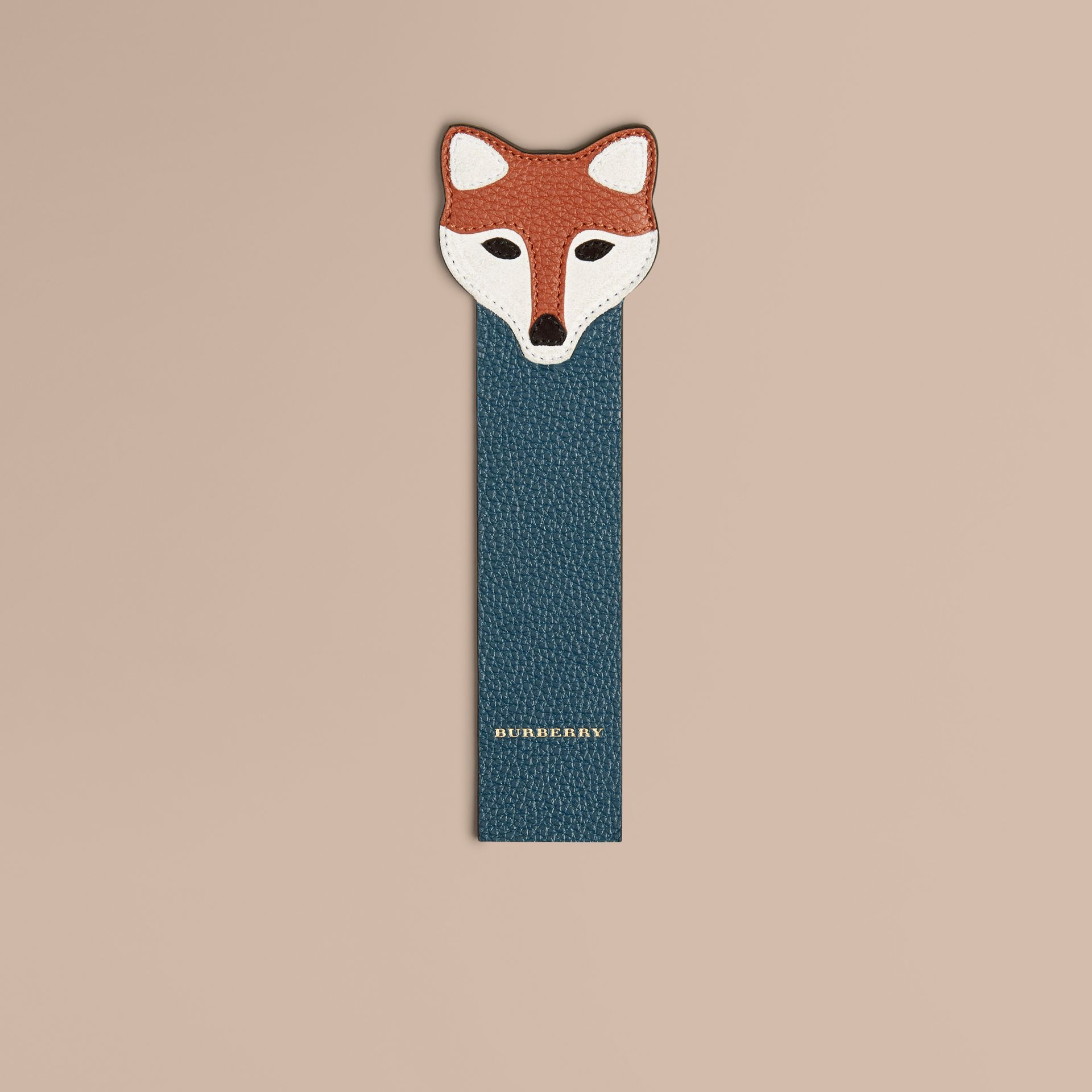 Dusty teal Fox Detail Grainy Leather Bookmark - gallery image 1