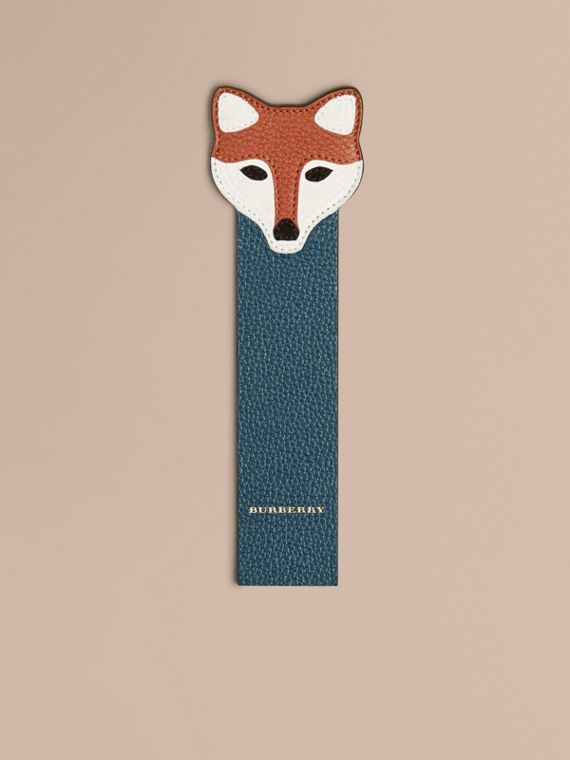 Fox Detail Grainy Leather Bookmark