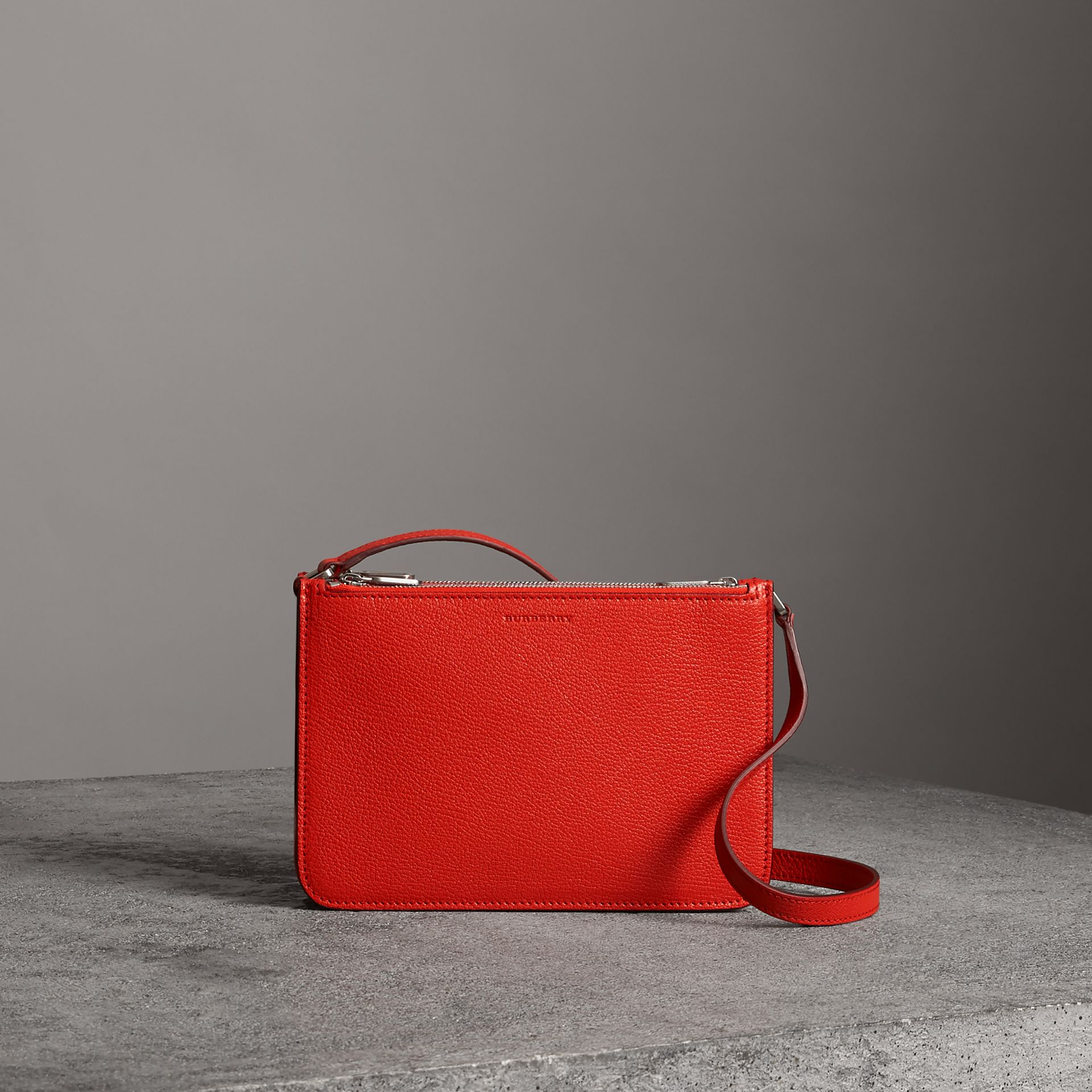 Triple Zip Grainy Leather Crossbody Bag in Bright Red - Women | Burberry United Kingdom - gallery image 0