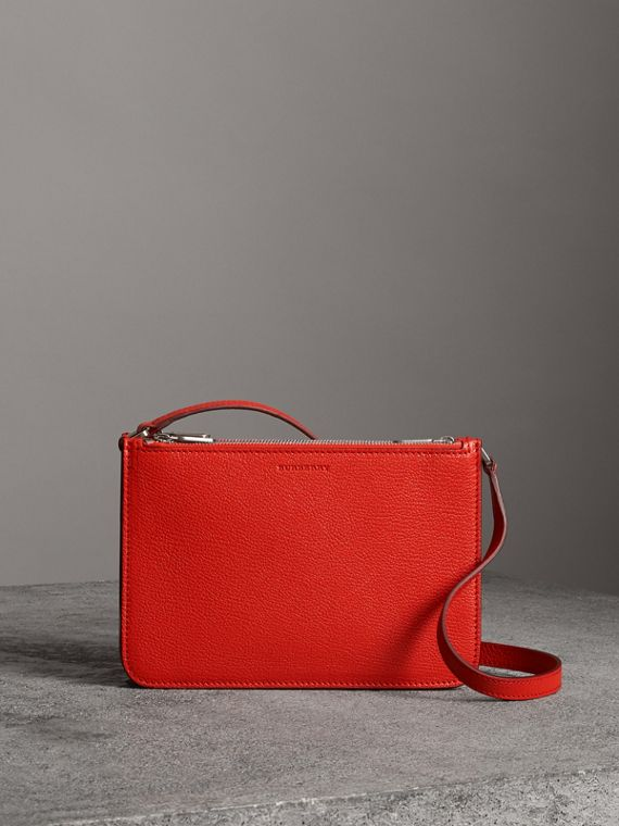 Triple Zip Grainy Leather Crossbody Bag in Bright Red