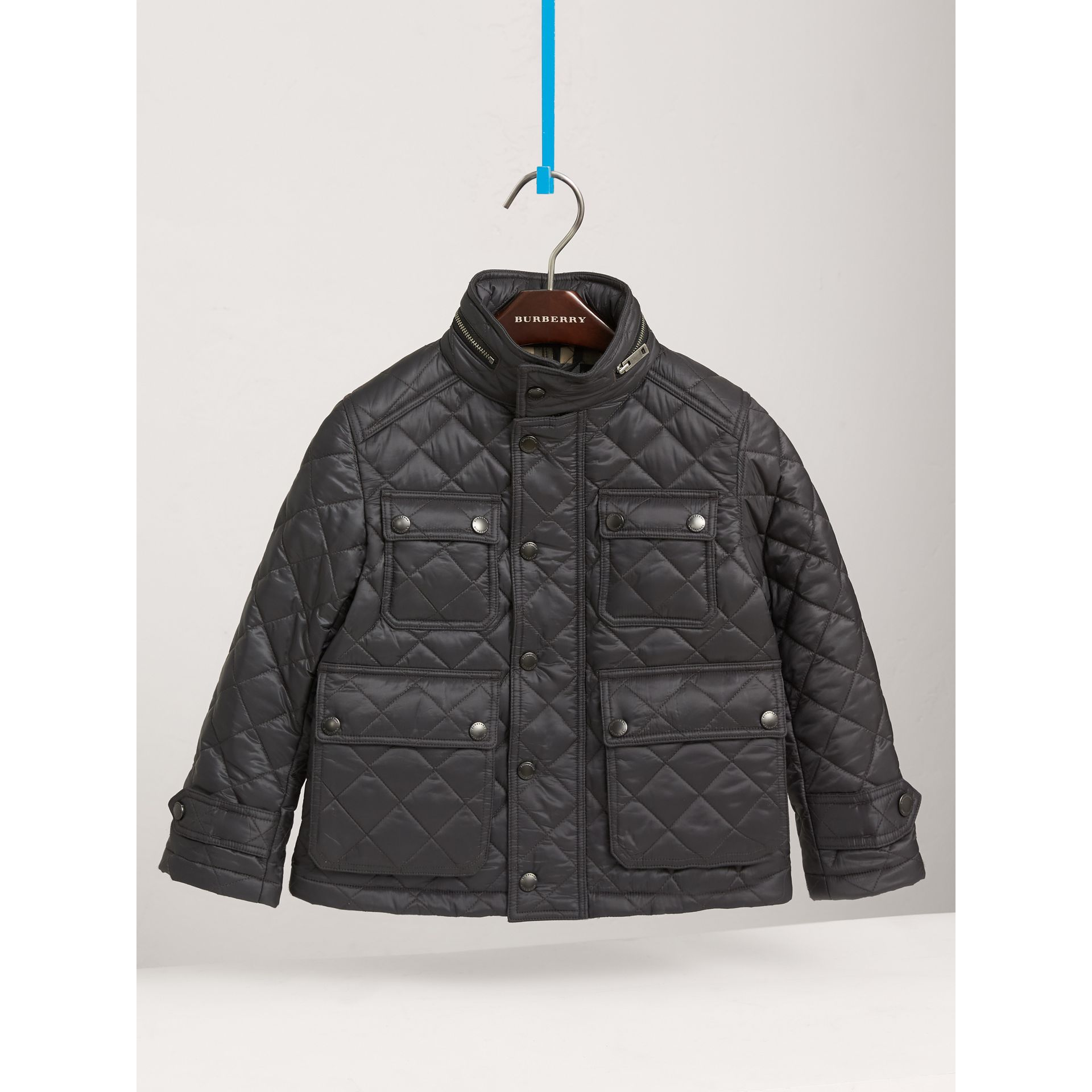 Diamond Quilted Field Jacket in Dark Grey | Burberry United States - gallery image 0