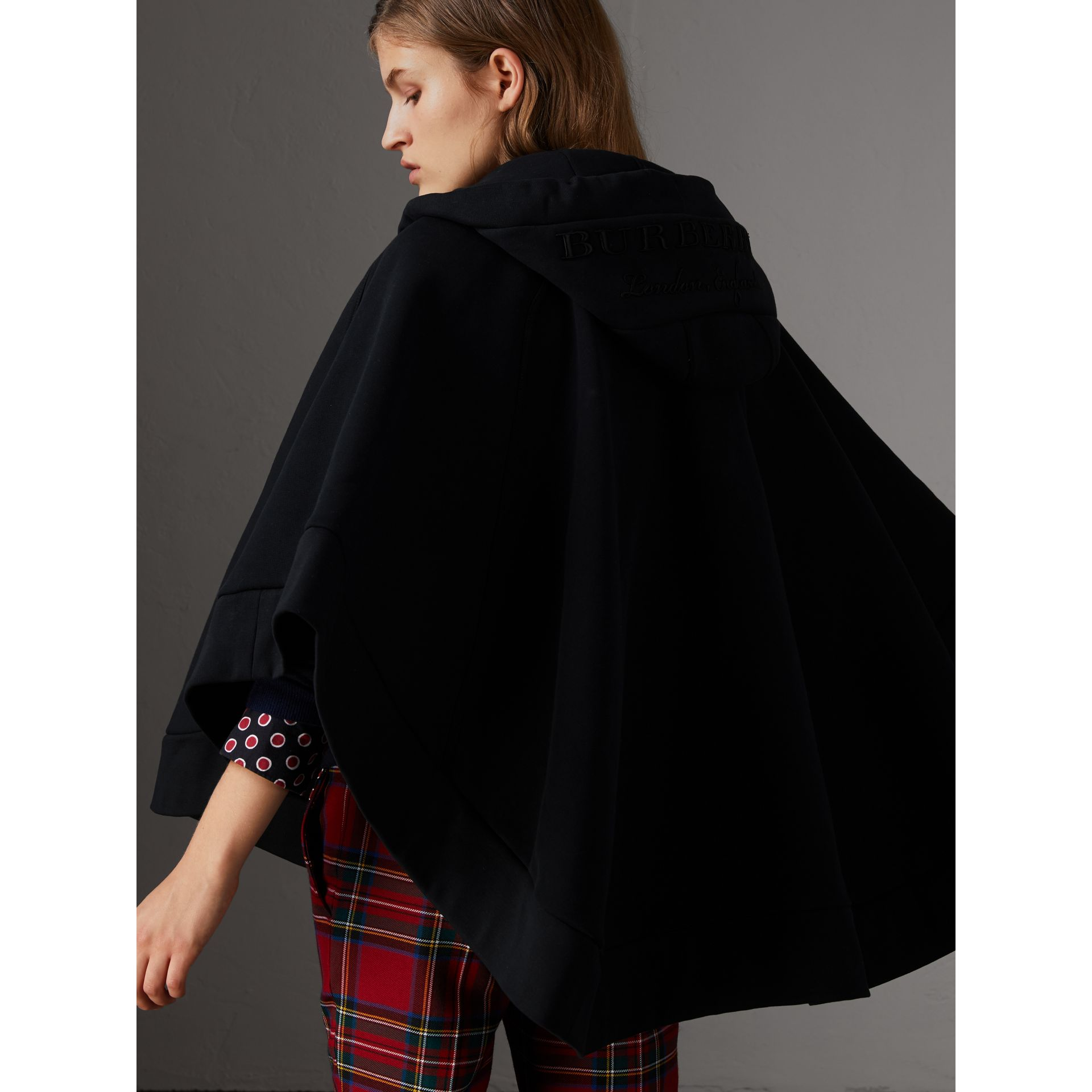 Embroidered Jersey Hooded Cape in Black | Burberry Australia - gallery image 3