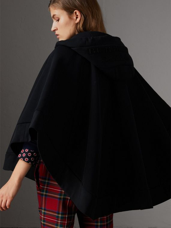 Embroidered Jersey Hooded Cape in Black | Burberry - cell image 2