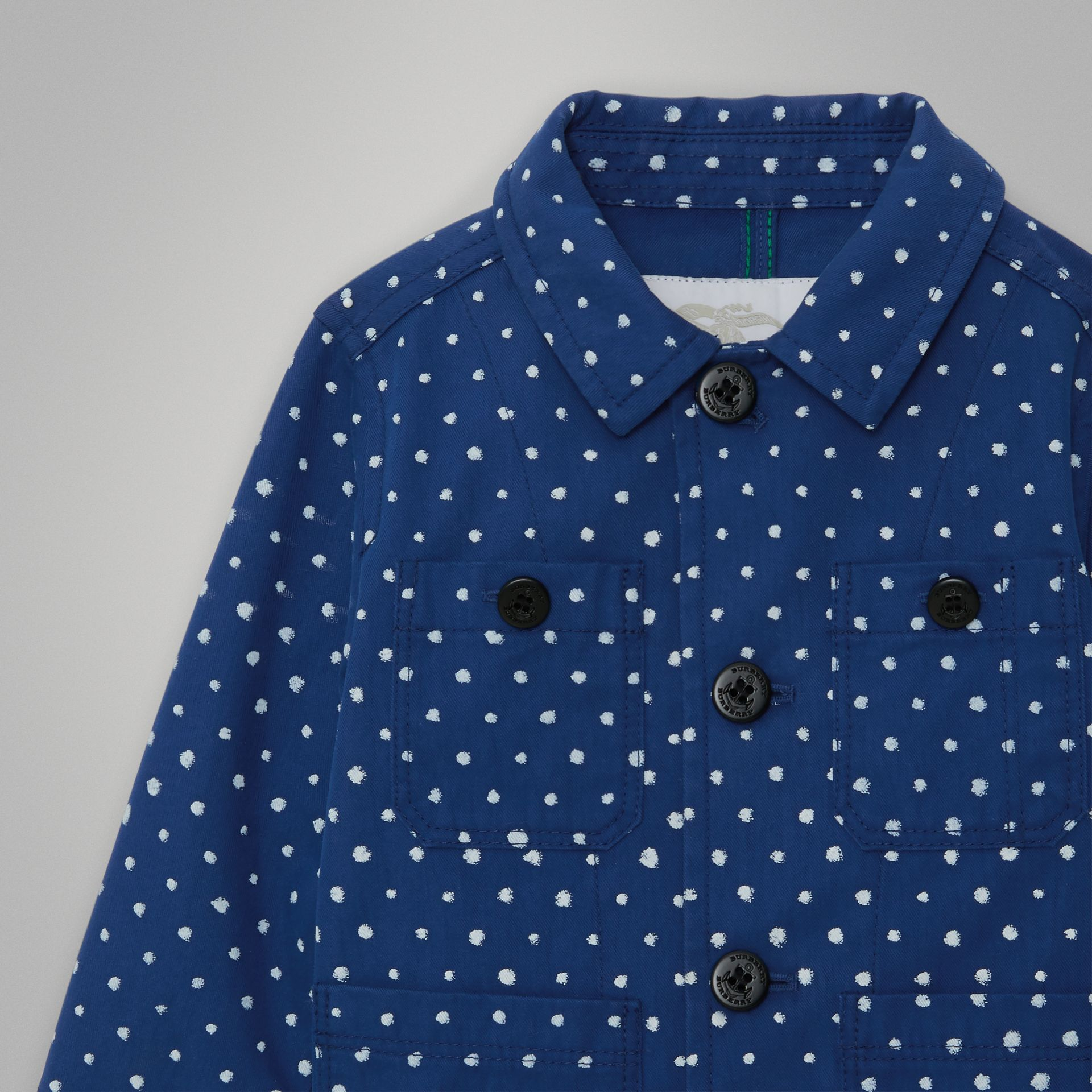 Spot Print Cotton Blend Jacket in Bright Navy - Children | Burberry United Kingdom - gallery image 4