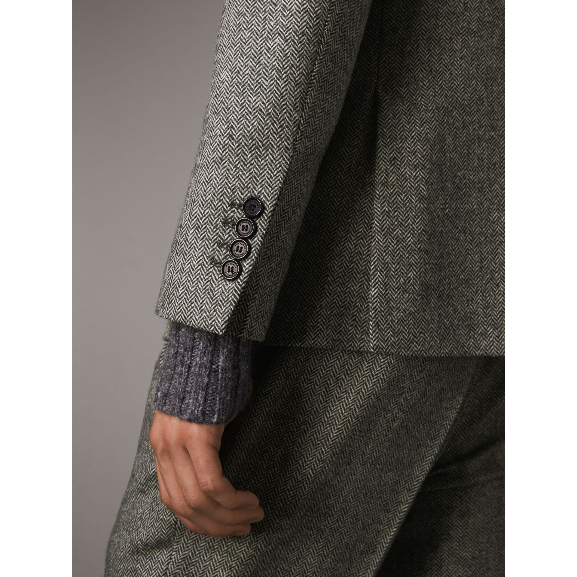 Soho Fit Herringbone Wool Tailored Jacket in Black / White - Men | Burberry Singapore - gallery image 6