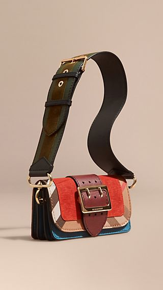 Petit sac The Buckle en cuir velours et à motif House check