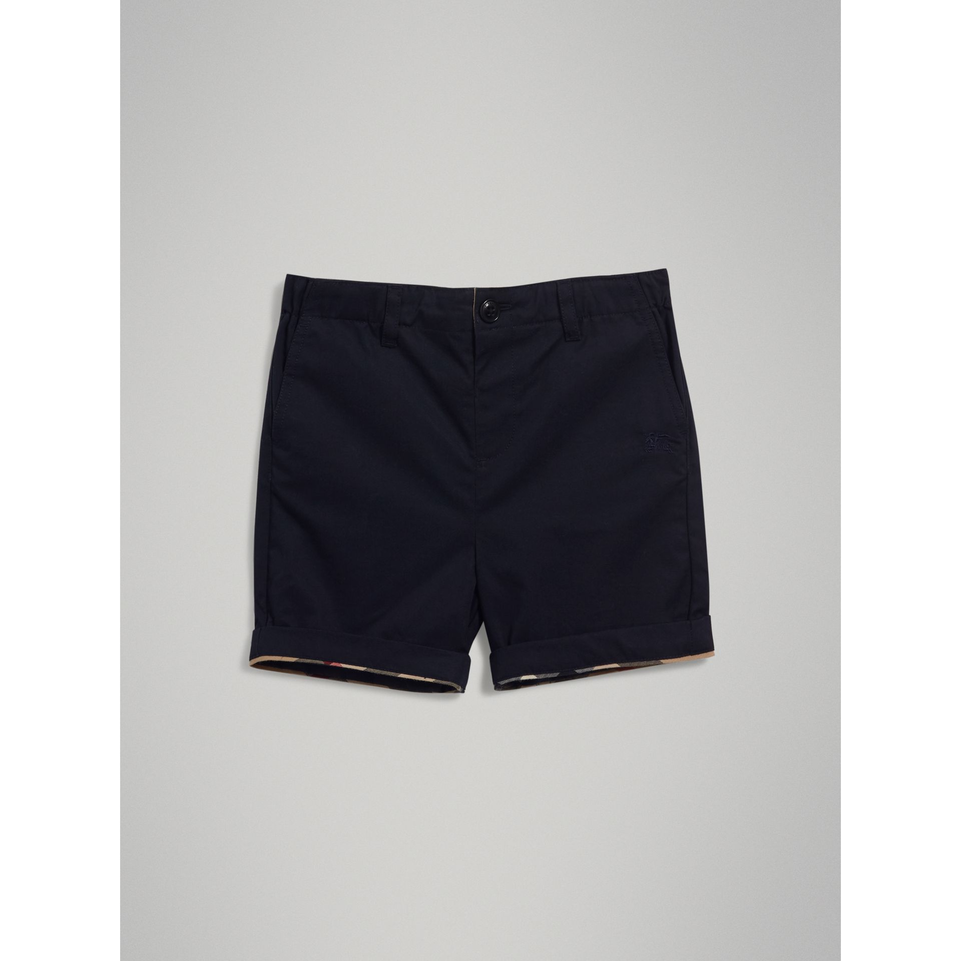 Check Detail Cotton Chino Shorts in Ink - Boy | Burberry - gallery image 2