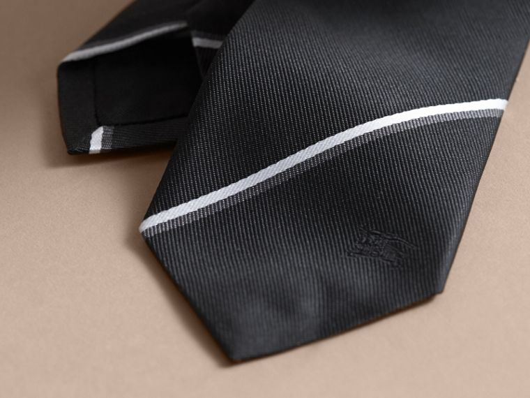 Slim Fit Striped Silk Tie Black - cell image 1