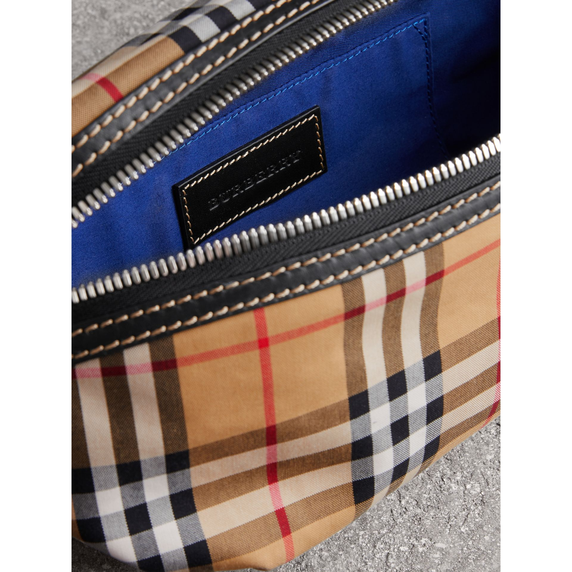 Medium Vintage Check Bum Bag in Canvas Blue - Men | Burberry - gallery image 5