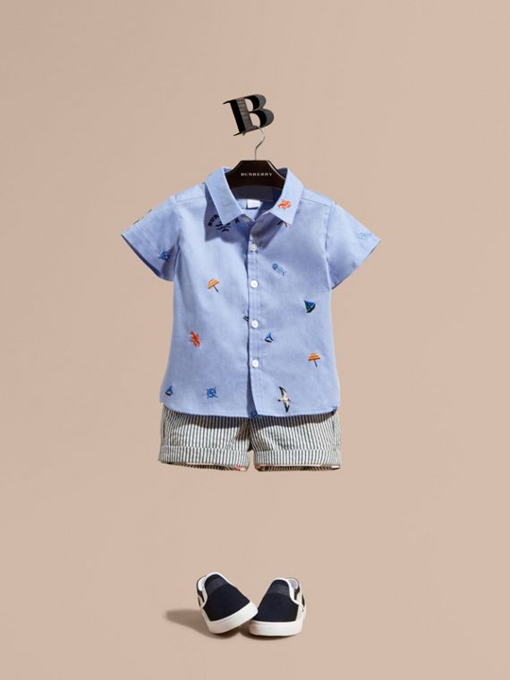 Cotton Oxford Shirt with Embroidered Nautical Motifs in Cornflower Blue