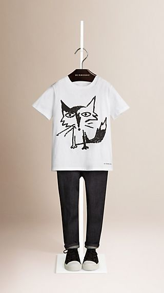 Fox Print Cotton T-shirt