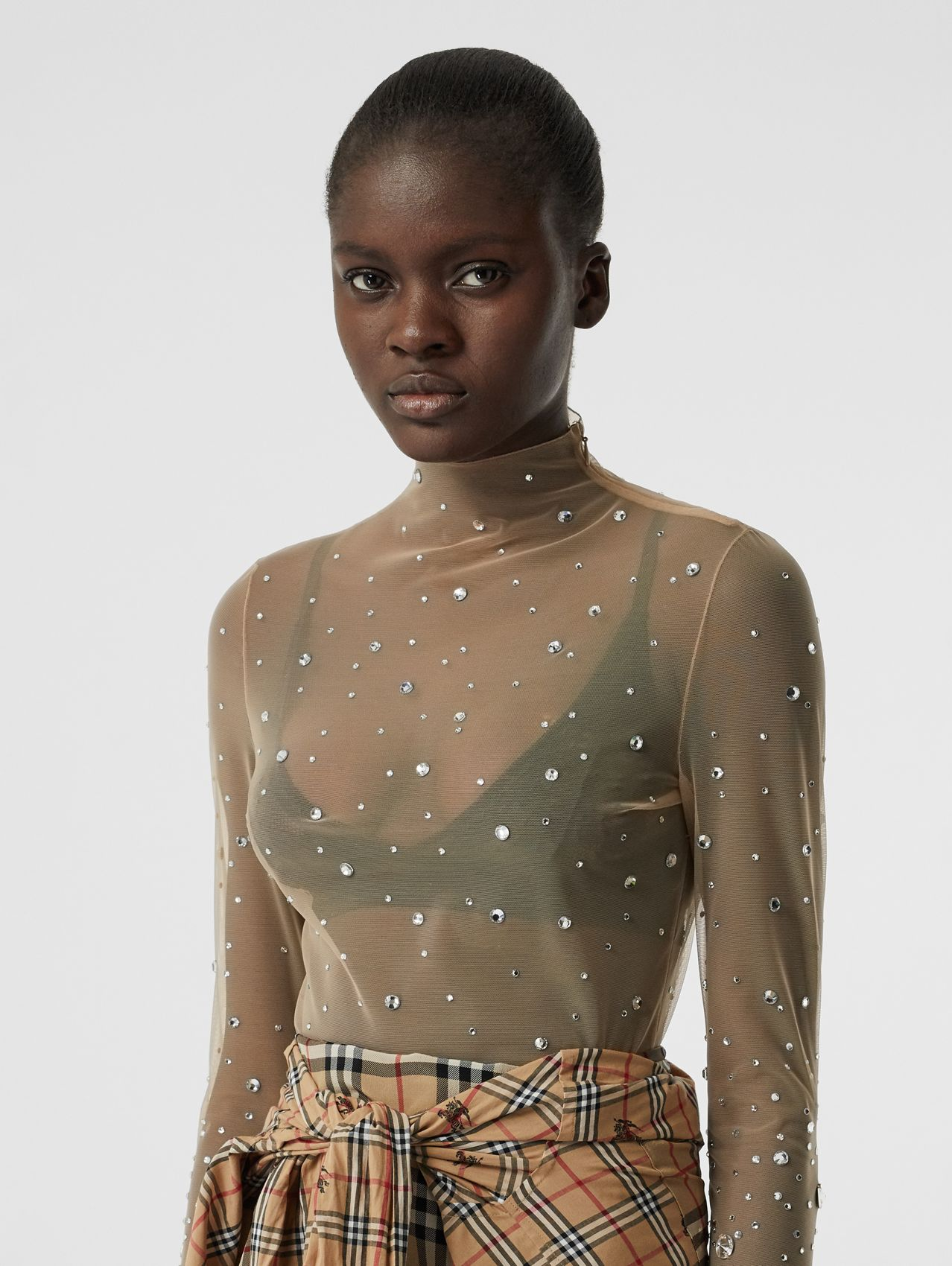 Crystal Detail Stretch Mesh Turtleneck Top in Nude