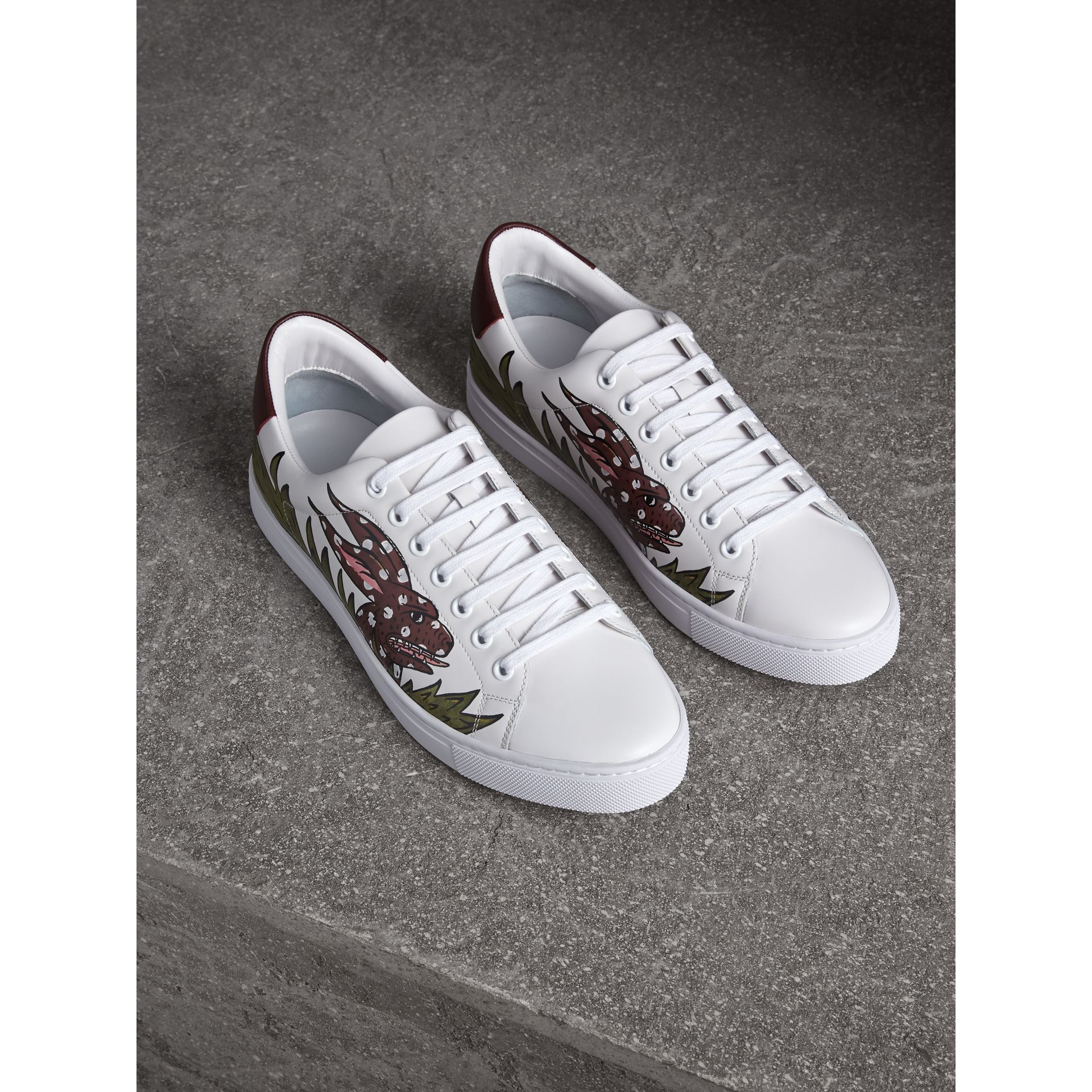 Beasts Print Leather Trainers in Optic White | Burberry Singapore - gallery image 1