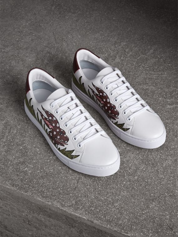 Beasts Print Leather Trainers in Optic White | Burberry Singapore