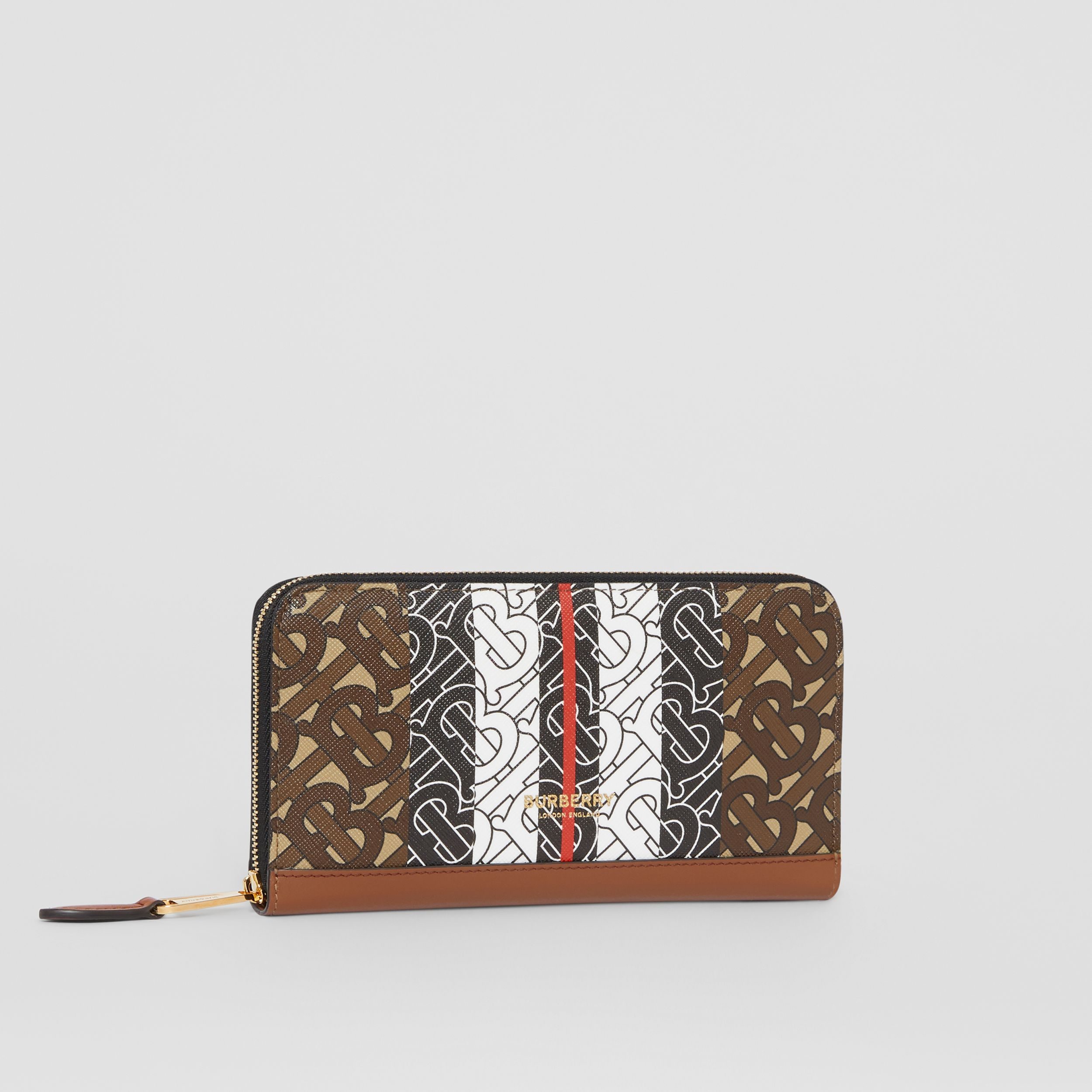 Monogram Stripe E-canvas and Leather Ziparound Wallet in Bridle Brown | Burberry - 4