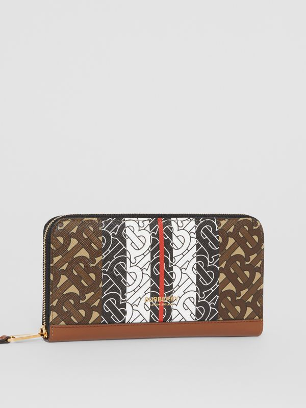 Monogram Stripe E-canvas and Leather Ziparound Wallet in Bridle Brown | Burberry United States - cell image 3