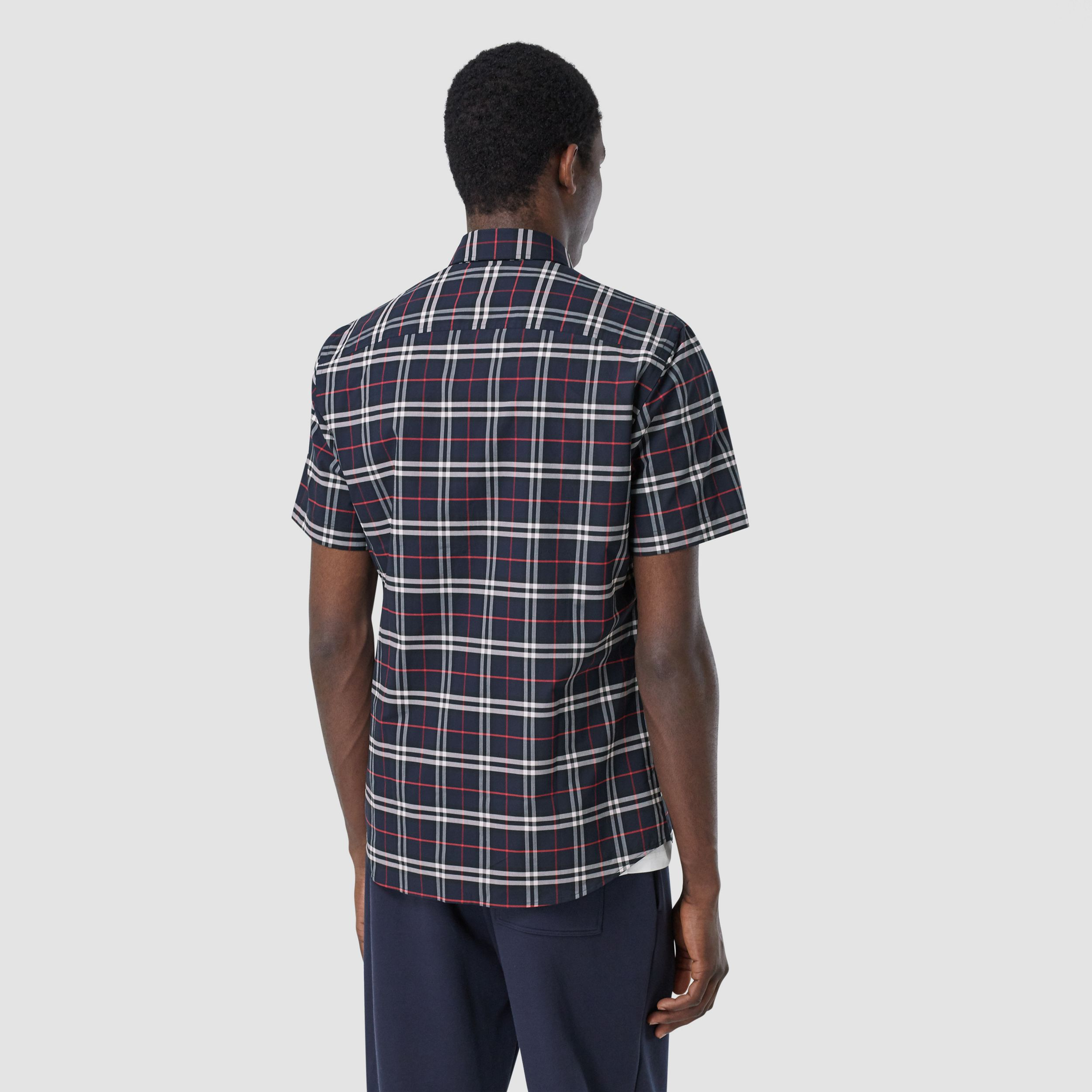 Short-sleeve Small Scale Check Stretch Cotton Shirt in Navy - Men | Burberry - 3