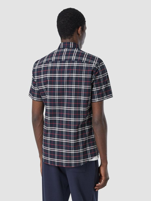 Short-sleeve Small Scale Check Stretch Cotton Shirt in Navy - Men | Burberry - cell image 2