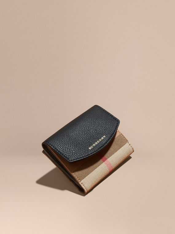 House Check and Leather Wallet in Black - Women | Burberry Australia